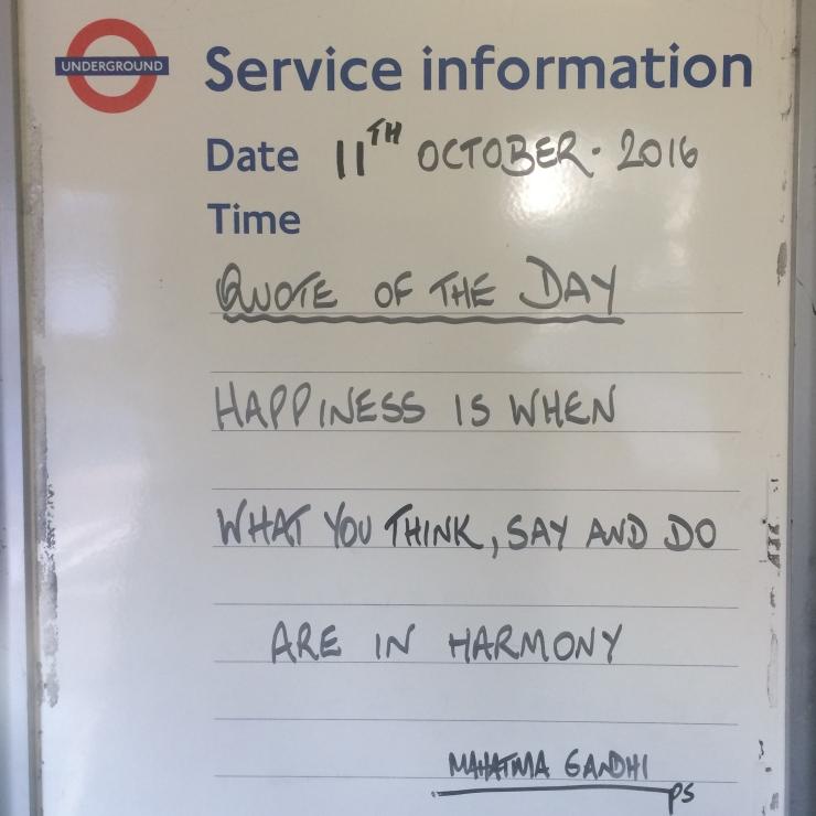 Whiteboard at London Underground station