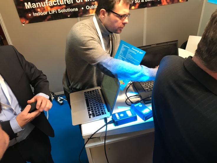 Exhibitor demonstrating LiFi technology